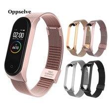 Rvs Pols Bandjes Voor Xiao Mi Mi Band 3 4 Metalen Horloge Band Smart Armband Voor Mi Band 4 3 Riem Vervangbare Horloge Bandjes
