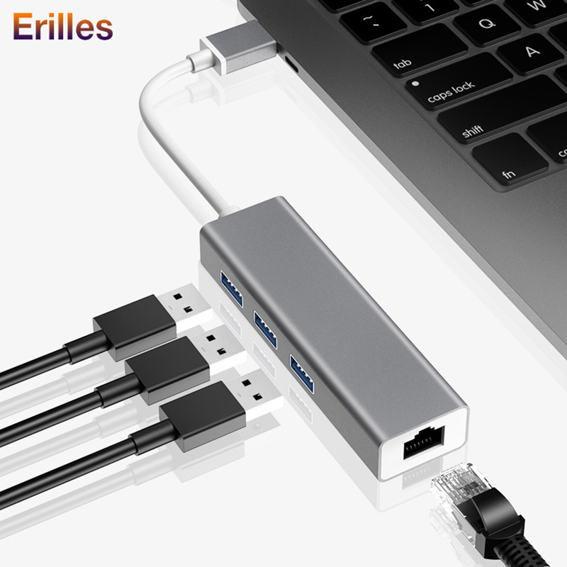4 In 1 USB Type C Hub To Hdmi 4K USB C Hub To Gigabit Ethernet Rj45 Lan Adapter 4 USB Hub 3.0 PC Laptop Multiport Adapter