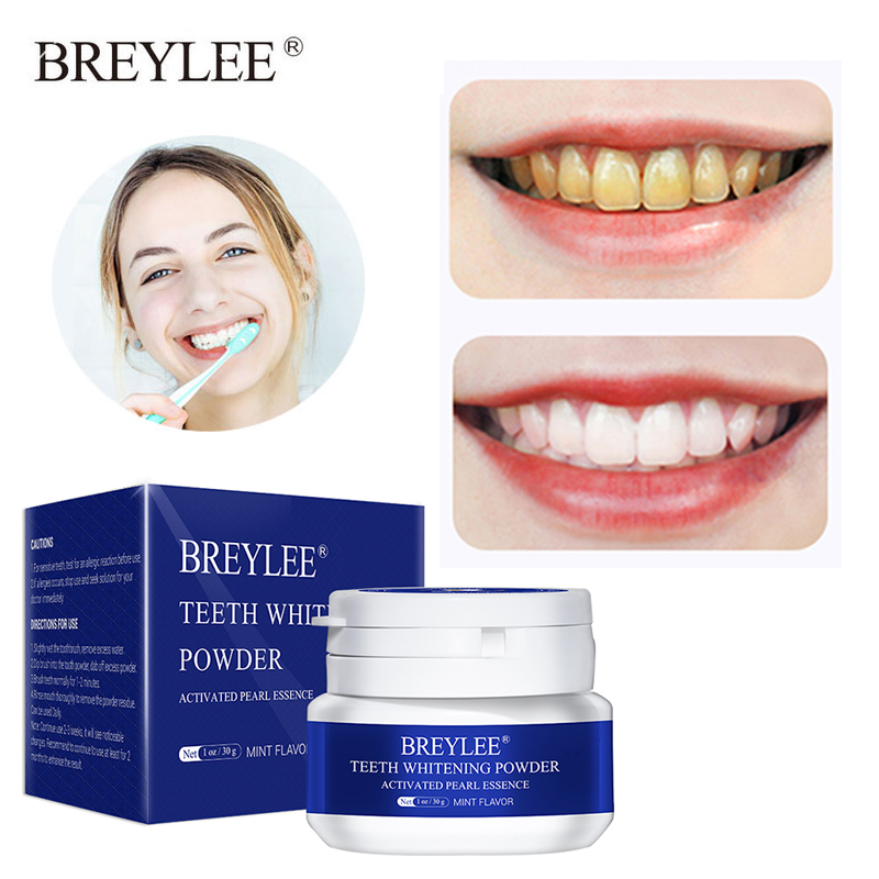 BREYLEE Teeth Whitening Powder Remove Plaque Stains Toothpaste Dental Tools White Teeth Cleaning Oral Hygiene Toothbrush Gel 30g(China)