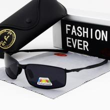 Lunettes de soleil polarisées de marque pour hommes, vintage, à la mode, monture carrée, noire, sport, petits rectangles, noircissement