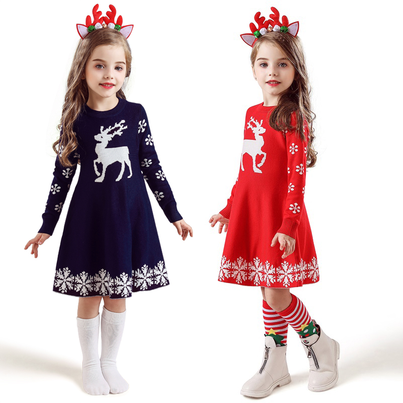 Christmas Dress Cartoon Long Sleeve Reindeer Princess Costume Snowflake Print Kids Dresses For Girls New Year Party Clothing 1