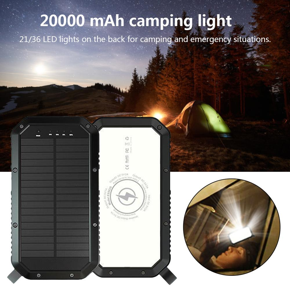 Portable Solar Camping Light 36 LED Waterproof Flashlight 20000 MAh Mobile Power Qi Wireless Charger 3 USB Mobile Power Bank