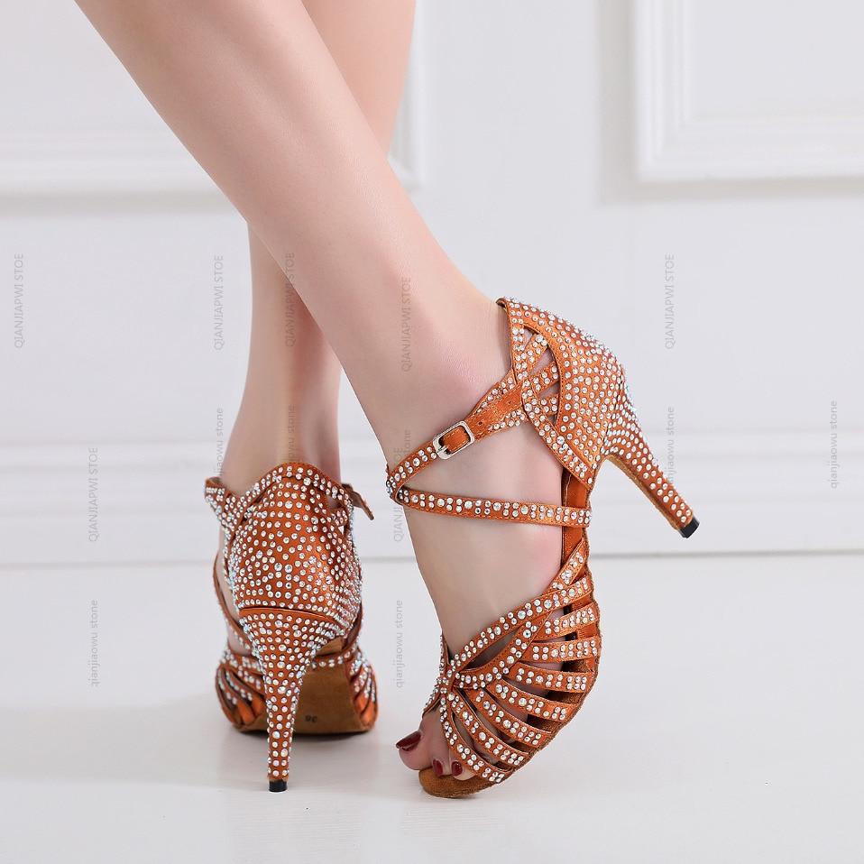 New Stye Salsa Jazz Ballroom Latin Dance Rhinestones Shoes For Dancing Women Social Ladies Tap Small Feet High Heels Tan Sandals