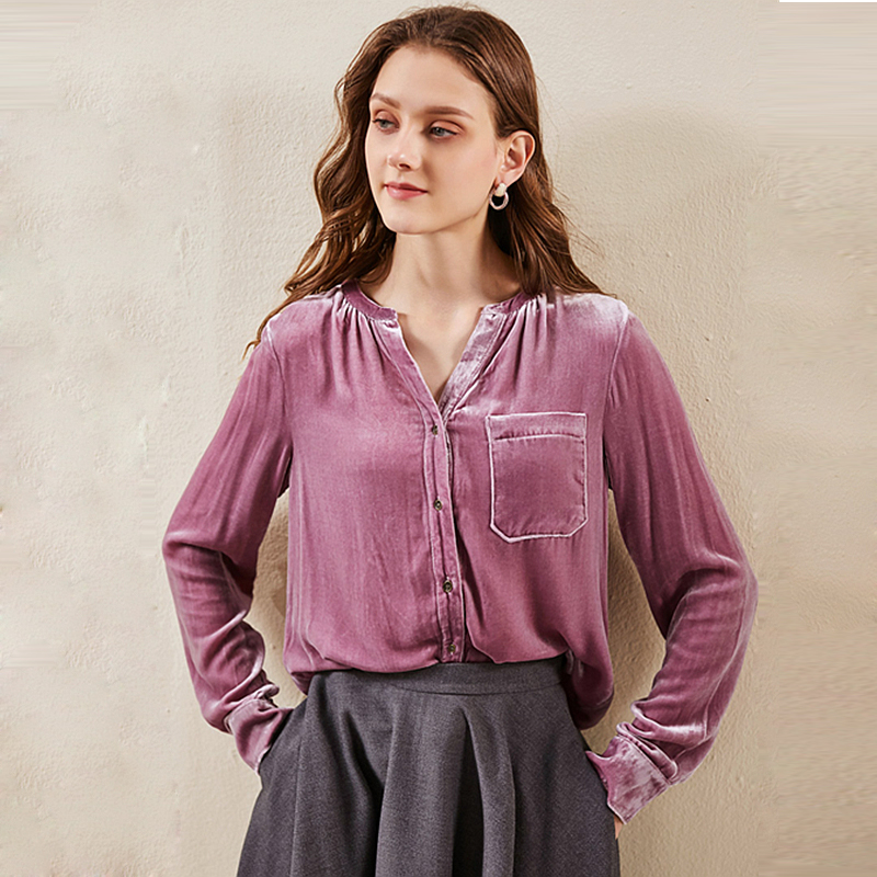 Silk Velvet Blouse Women Simple Design Vintage Solid Colour Streamer Funnel Collar Long Sleeves Loose Casual Top New Fashion