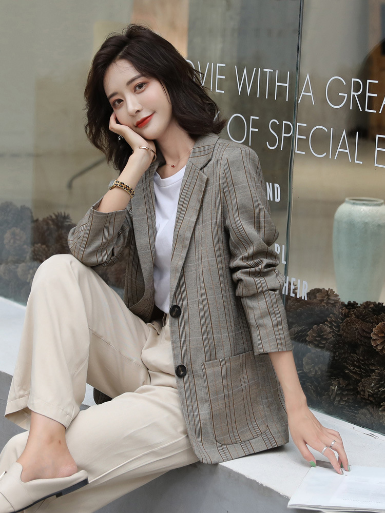Women's Jacket 2019 Spring And Autumn New Casual Fashion Temperament Lattice Single-breasted Small Suit Women's Clothes