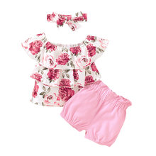 1-4Y Flower Toddler Baby Kid Girls Clothes Set Ruffles Flower T shirts Shorts Outfits Summer Children Girls Floral Costumes(China)