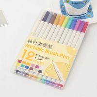 Canetas de marcador metálicas  conjunto de 12 cores sortidas para livros para colorir adultos  pintura em pedra de arte  cartão  metal e cerâmica