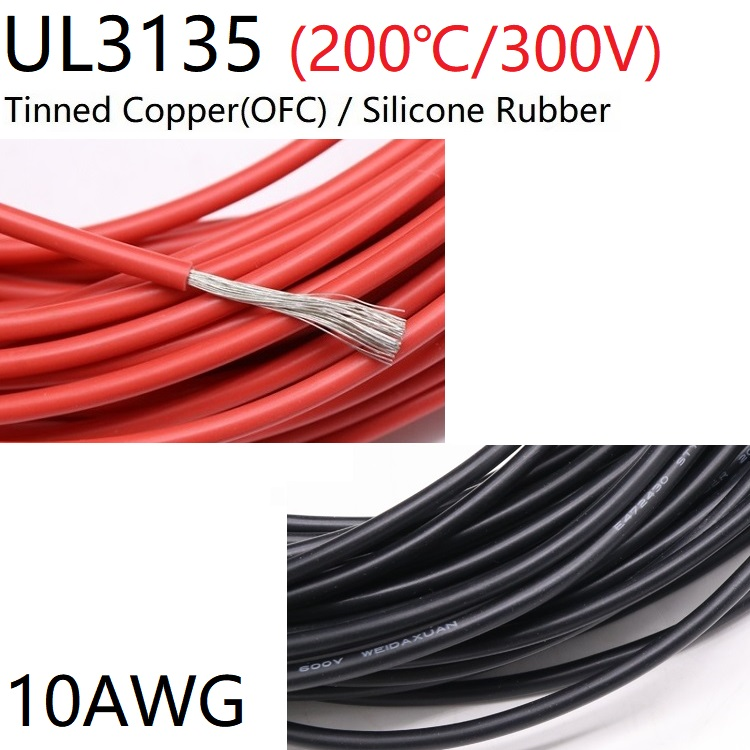 UL3135 <font><b>Silicone</b></font> Rubber <font><b>Wire</b></font> <font><b>10AWG</b></font> Flexible Insulated Soft Electron Lamp Cable Tinned Copper High Temperature Color 600V image