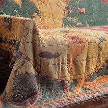 بطانية من القطن البوهيمي بتصميم خريطة العالم متعددة الوظائف لتزيين الأريكة غطاء للبيانو بطانية من نسيج Cobertor مزودة بشراشيب