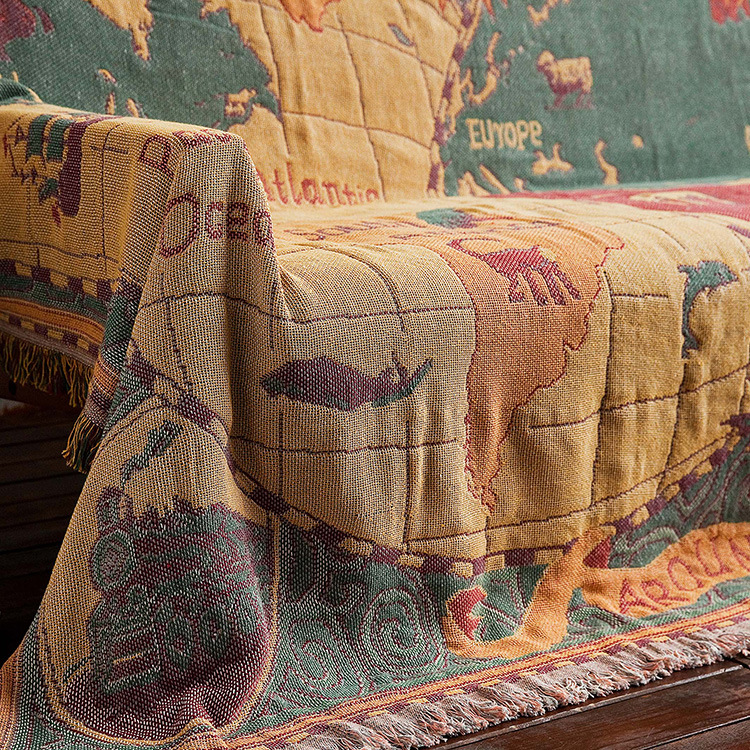 World map Cotton Bohemian Plaids Blanket Multi function Sofa  Decorative piano cover tapestry Cobertor Tassel BlanketBlankets   -