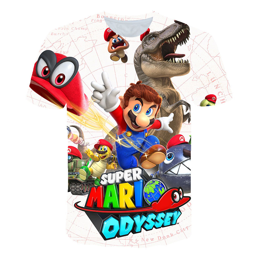 New Harajuku Style Classic Game Mario Bros 3D Print T-shirts 2020 Mario Boys Clothes Fashion Hip Hop Kids Clothes Street Tops
