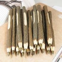 100 クリエイティブ手作り木製植物枝ボールペン、文房具材料学校供給