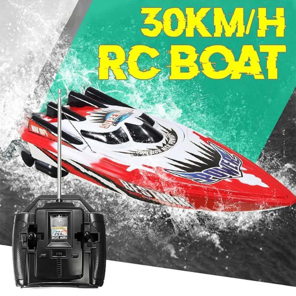 Boat 30km/h High Speed Racing Rechargeable Batteries Remote Control Boat for Children Toys Kids Christmas Gifts 33x11x9cm