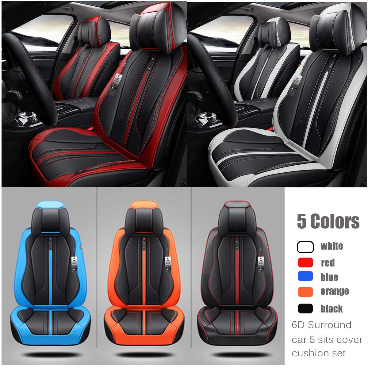Deluxe 6D Surround Leather 5-Sit Car Front+Rear Seat Covers Protector Cushion