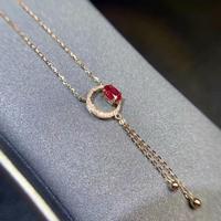 shilovem 18k rose gold real Natural ruby Gemstone pendants plant women necklace fine new Christmas Gift 4*6mm dz040682h