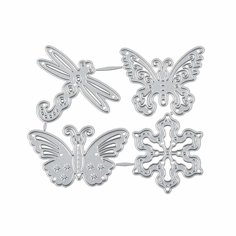 YaMinSanNiO Butterfly Dragonfly Snowflake Metal wykrojniki scrapbooking, rzemiosło szablon do wytłaczania DIY Die Cut dekoracja kartek