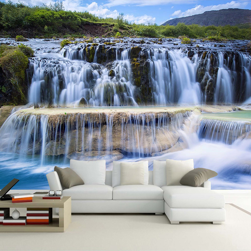 Waterfall Scenery Custom 3D Photo Wall Paper For Kitchen Restaurant Study Room Bedroom Background Waterproof Mural Art Wallpaper