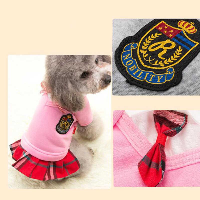 かわいい猫ドレス制服犬ドレスファッション英国の大学のスタイル犬のプリンセスドレスガール犬服チワワテディのため