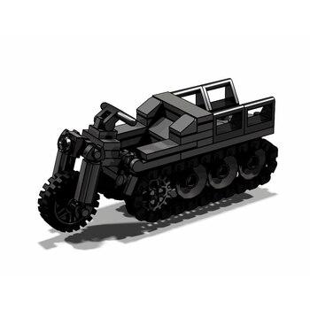 123Pcs MOC Kreative Militär Deutsch Halftrack Motorrad Modell DIY Gebäude Block Kit Montage Modelle Spielzeug-Statische Version