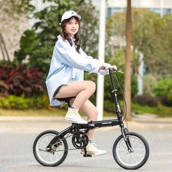 Rower składany małe Ultra-lekki przenośny pracy wykonywanej przez kobiety konna mężczyźni instalacji-darmowe tanie i dobre opinie STEEL CN (pochodzenie) Unisex 16 inches Universal High carbon steel Other 16 inches (short distance riding) QH500-1 Rear brakes