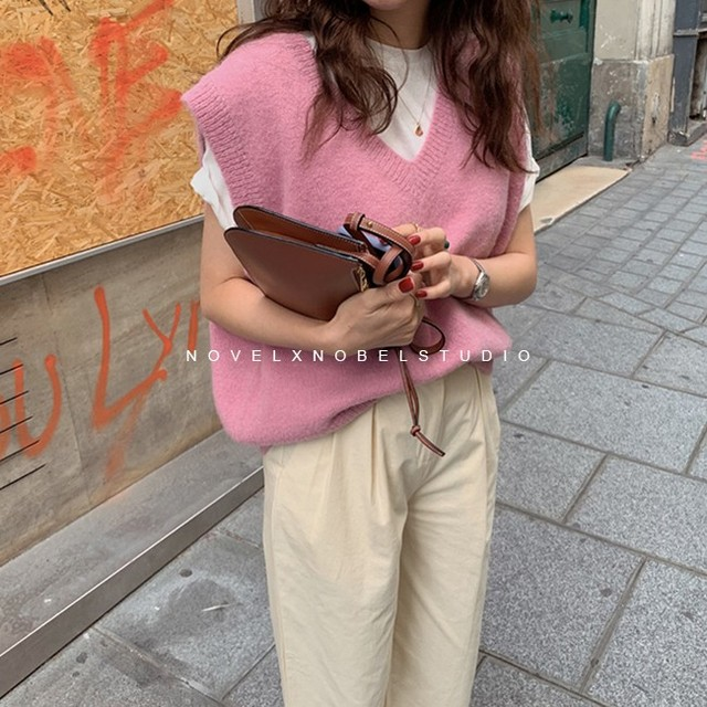 New V neck Girls Pullover vest sweater Autumn Winter Pink Knitted Women Sweaters vest Sleeveless Warm Sweater Casual oversize 3