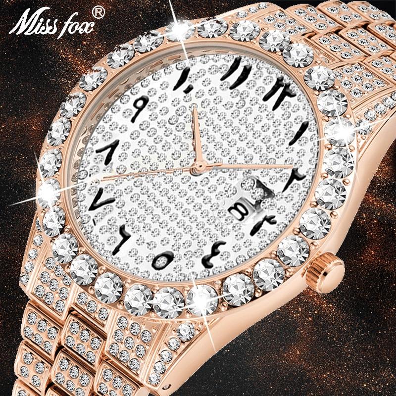 MISSFOX Dropshipping Numerais Arábicos Homens Relógio de Diamantes em Ouro Rosa Marca de Luxo Assistir FF 3Atm Japão Movt Original Relógio de Pulso Dos Homens