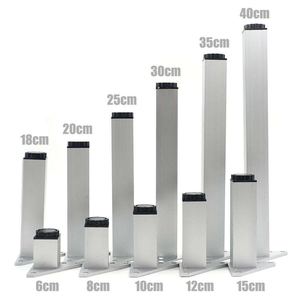 "Furniture Legs Cabinet Feet 4pcs Aluminum Metal Leg Table Sofa Square Base 2/""-8/"""