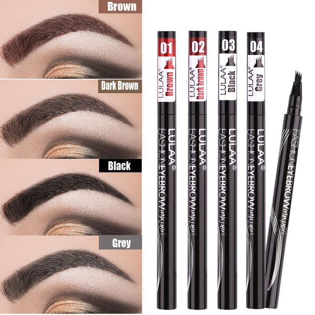 Waterproof Natural Eyebrow Pen Four-claw Eye Brow Tint Makeup three Colors Eyebrow Pencil Brown Black Grey Brush Cosmetics