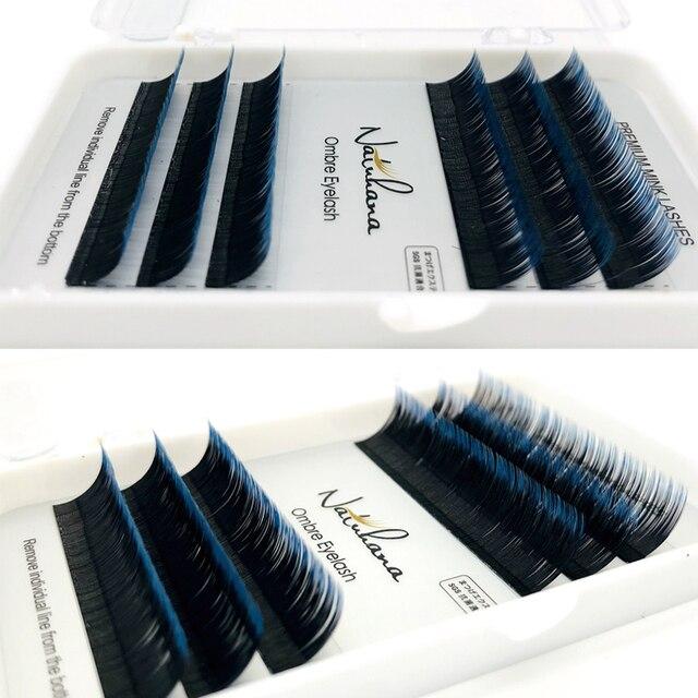 NATUHANA 6Rows Ombre Color Eyelash Extension Individual Faux Mink Lash False Gradients Eyelashes Professional Salon Makeup tools 2
