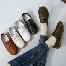 Женские туфли из натуральной кожи на плоской подошве шнуровке
