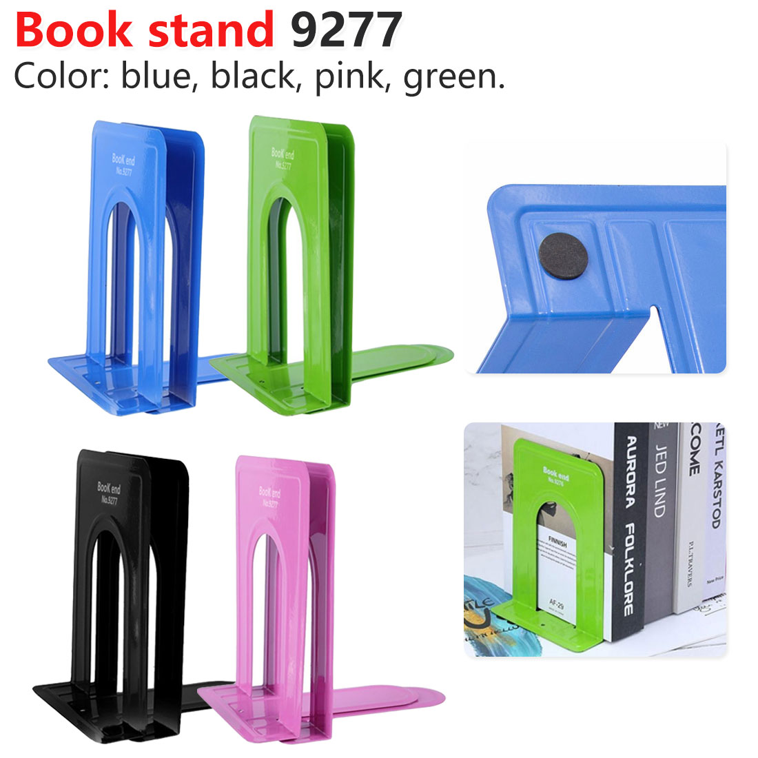 Simple Style Metal Bookends Iron Support Holder Nonskid Desk Stands For Books Office Stationery