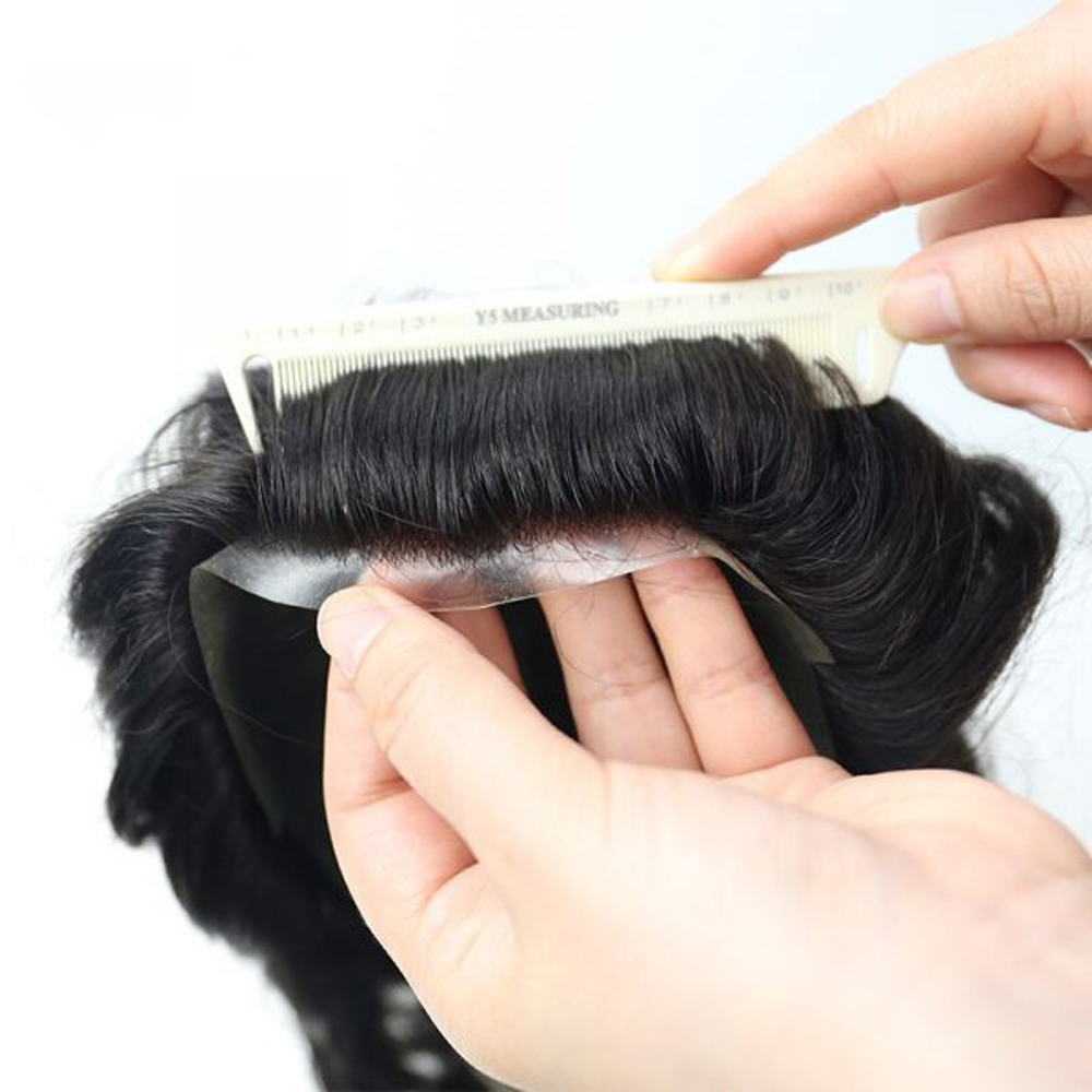 BYMC Two Colors Men's Toupee Hairpieces Replacement System For Men Full Pu Around Hair 100% Brazilian Comfortable Human Hair