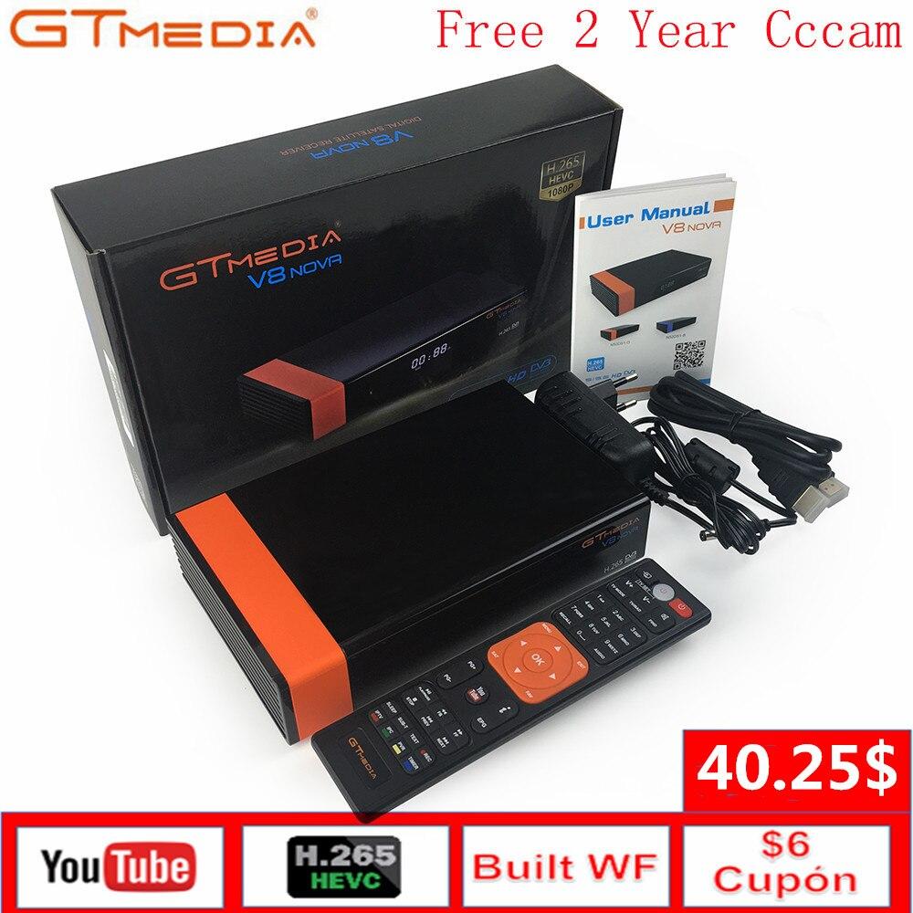 Gtmedia v8 nova satélite receptor suporte h.265 europa 7 clines cccam para 1 ano espanha construído wifi padrão DVB-S2 hd caixa de tv