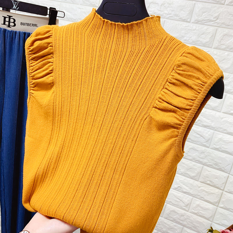 HELIAR Women Tank Tops Summer Knitted Turtleneck Tank Tops Ladies Sexy Slim Tops Female Puff Sleeve Casual Tops For Women Summer 3