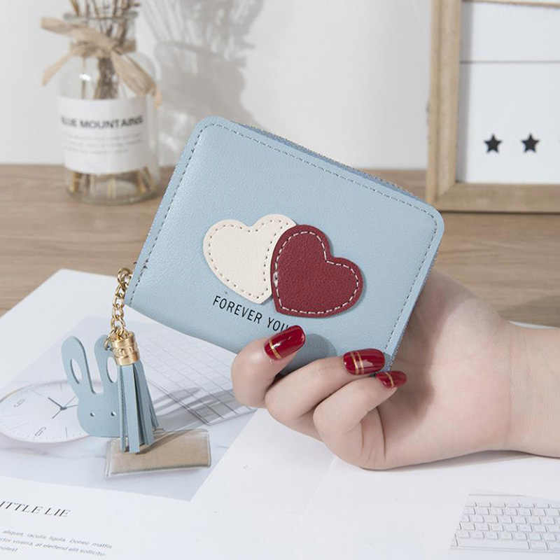 c06efa43d97 Women's Short Wallet Love Coin Purse Casual Fashion Tassel Zipper Card Bag  Mini Female Student Wallet Clutch Bag