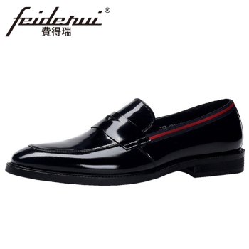 New Arrival Patent Leather Men's Handmade Casual Loafers Round Toe Slip on Heeled Man Formal Dress Daily Penny Shoes BQL250