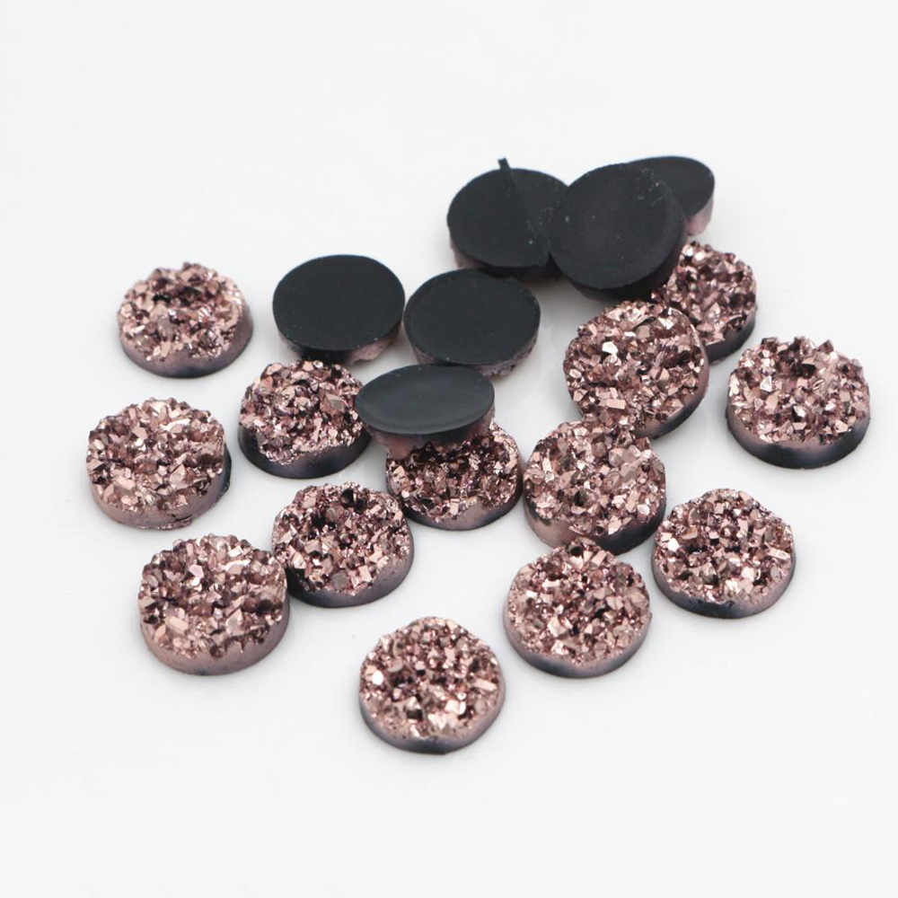 New Fashion 40pcs 12mm Rose Gold Colors Natural Ore Style Flat Back Resin Cabochons For Bracelet Earrings Accessories-V4-15
