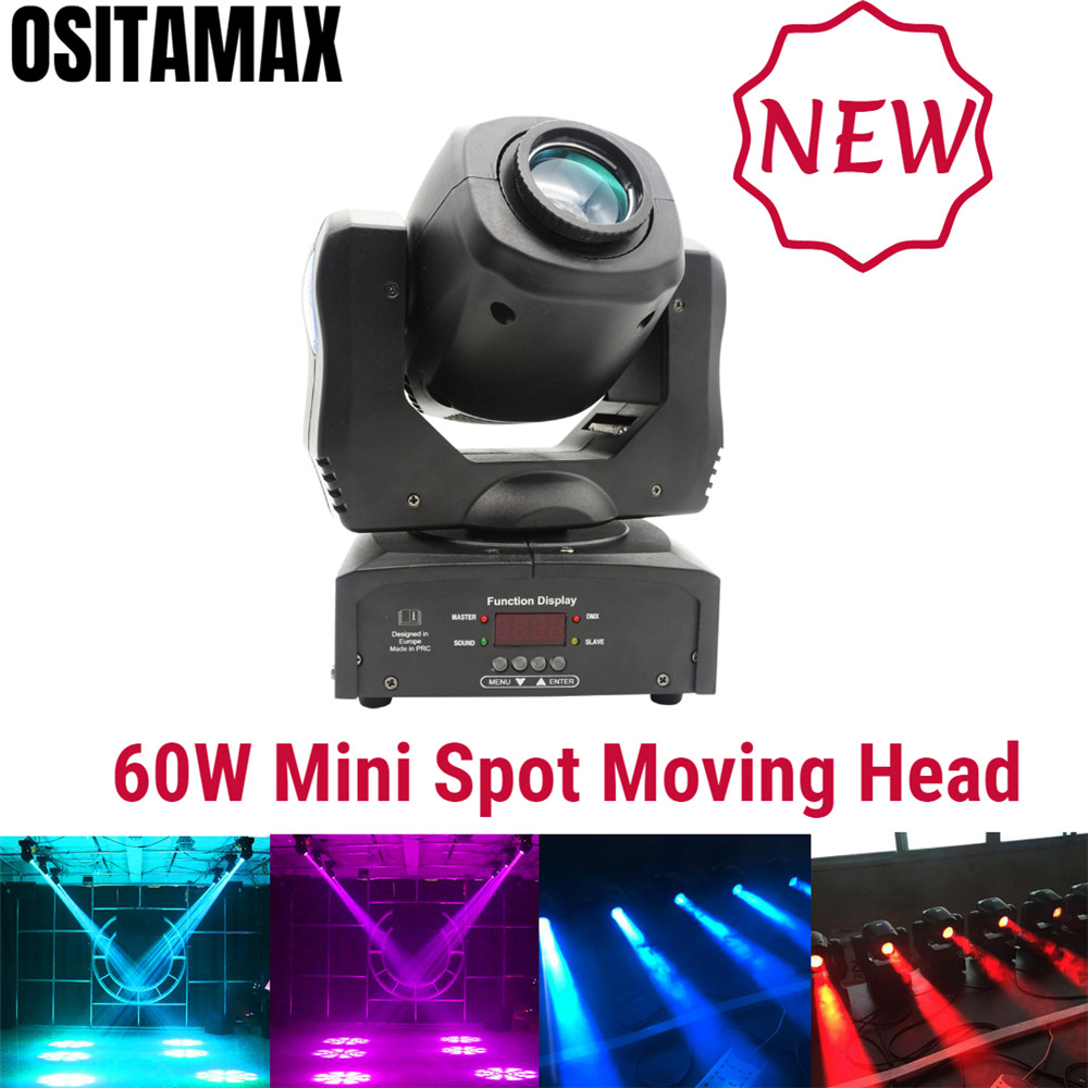 Free Shipping Lyre LED Mini Moving Head Light 60w Spot Gobo Light 9/11 CHS DMX Spot Mini LED Moving Head Disco Party Light
