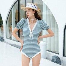 Bikini 2021 Women One Piece Swimsuit Beachwear For Pregnant Swimwear Korea New Sexy Hot Cover Print Polyester Sierra Surfer Push