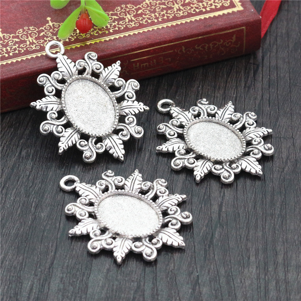 4pcs 13x18mm Inner Size Antique Silver Simple Style Cameo Cabochon Base Setting Charms Pendant Necklace Findings  (D4-22)