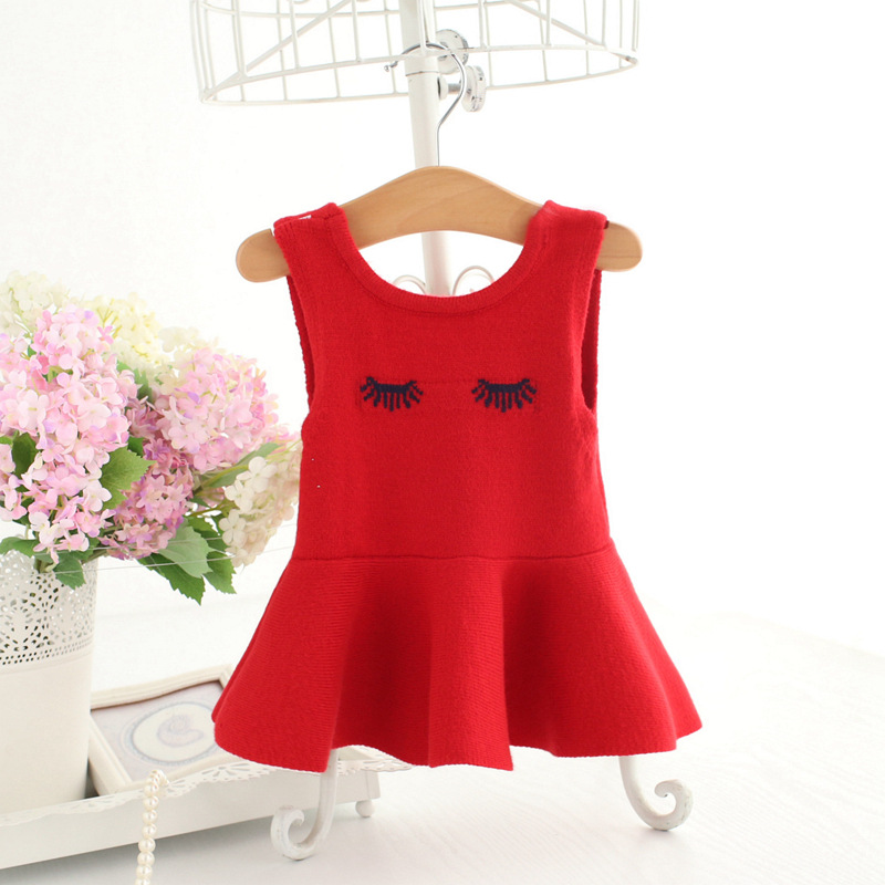 Idea Fish Childrenswear 2018 Spring New Style Woollen Sweater Korean-style Girls Long Eyelash Vest Skirt 9109