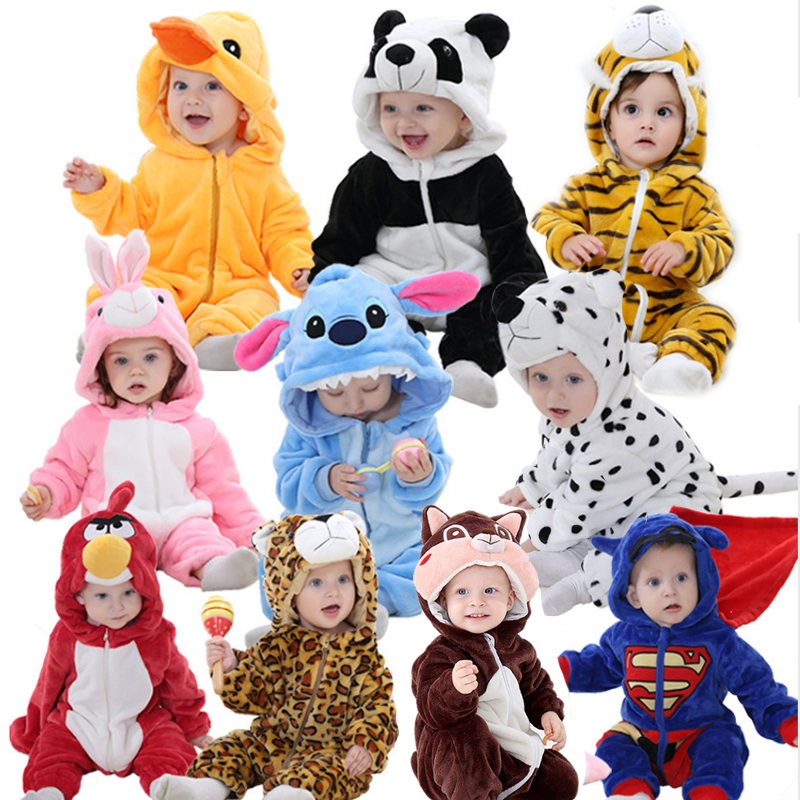 Cute Cartoon Flannel Kigurumi Baby Rompers Novelty Rabbit Cotton Baby Boys Girls Animal Rompers Stitch Baby's Sets  New Born2020