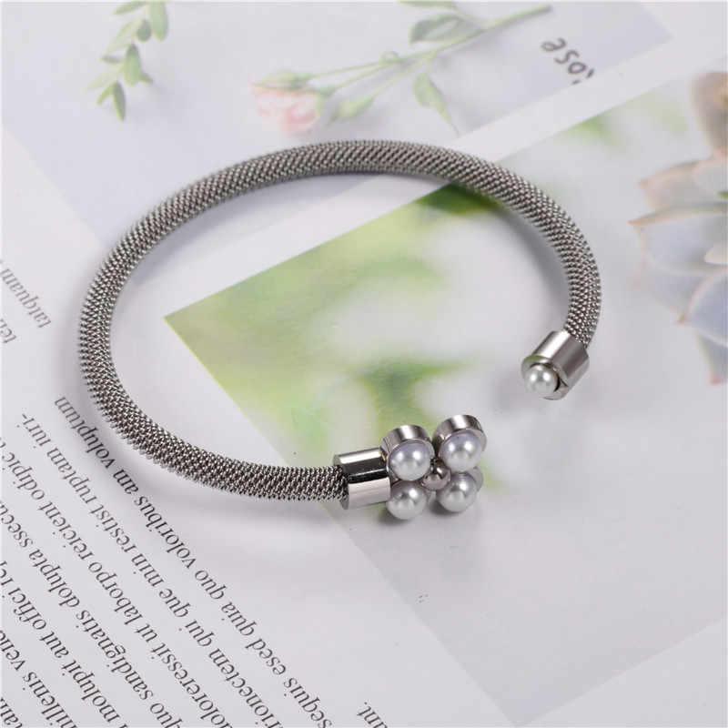 Brazalete de perlas de flores OUFEI, brazalete para mujer, accesorios de acero inoxidable, joyería al por mayor, pulsera, joyería, oro rosa