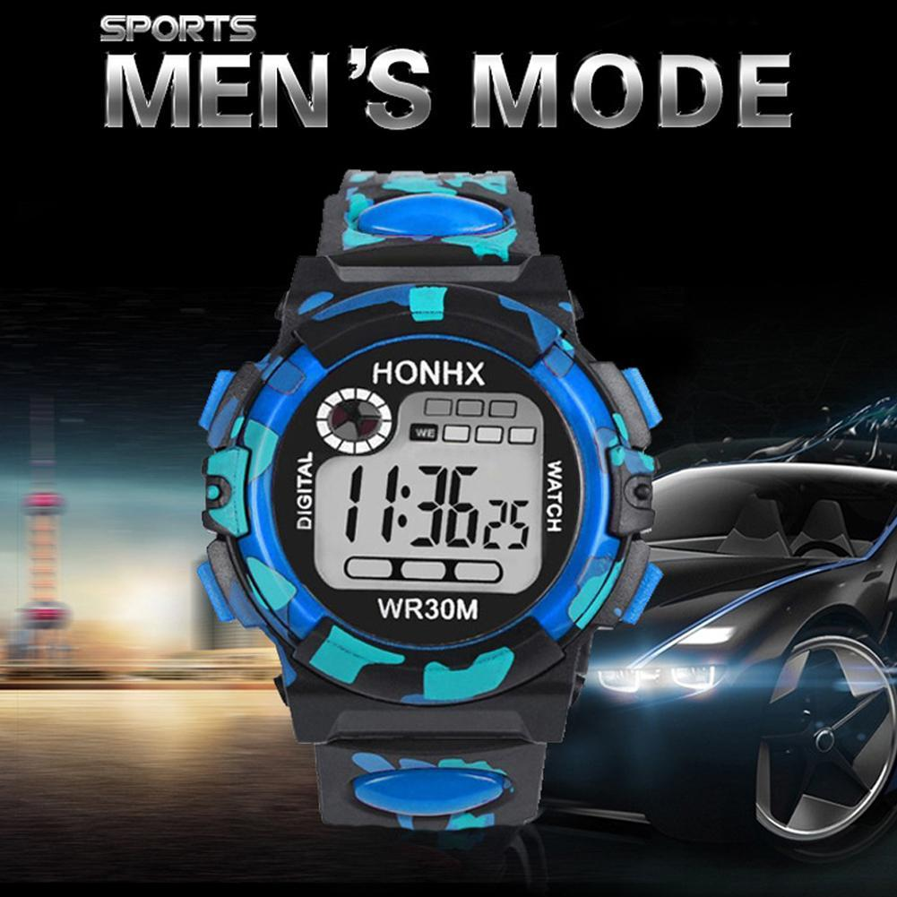 Honhx Men's Student Children's Electronic Watch Led Multi-function Sports Watch 62 One Eye Camouflage Led Watch Men Sports Watch image