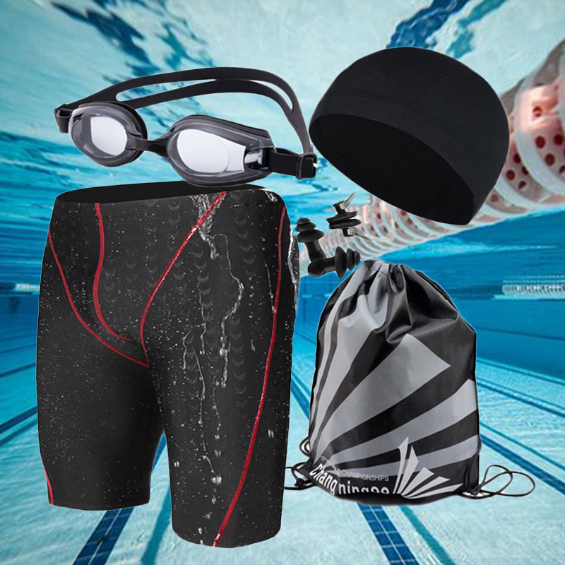 Short MEN'S Swimming Trunks Boxer Large Size Industry Shark Skin Adult Prescription Swimming Goggles Swimming Cap Swimming Trunk