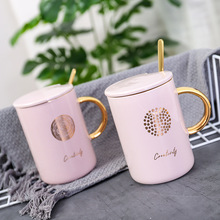 Pink Life ver2 Beautiful Ceramic Mug with Lid Spoon Tea Milk Coffee Cups Girls Home Office Drinkware Gift