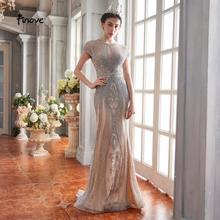 Finove robe de soirée, style sirène, tenue de soirée, tenue de fête pour femmes, tenue de soirée, manches courtes, longueur de plancher, perles de luxe, nouvelle collection 2020