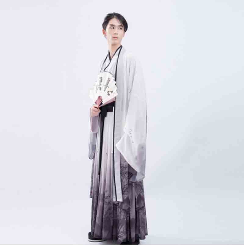 Men Hanfu Chinese Ancient Outfit Gradation Gray Hanfu Set Adult Male Carnival Cosplay Costume Fancy Dress For Men Plus Size