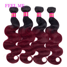 Tissage en lot Body Wave brésilien naturel Remy 2 tons – FEELME, bordeaux ombré 1b/99j, pour femmes africaines