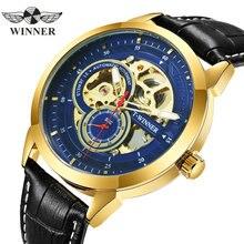 Zwycięzca oficjalny automatyczny zegarek mechaniczny mężczyźni szkielet męskie zegarki Top marka luksusowy skórzany pasek analogowe zegarki na rękę dla człowieka